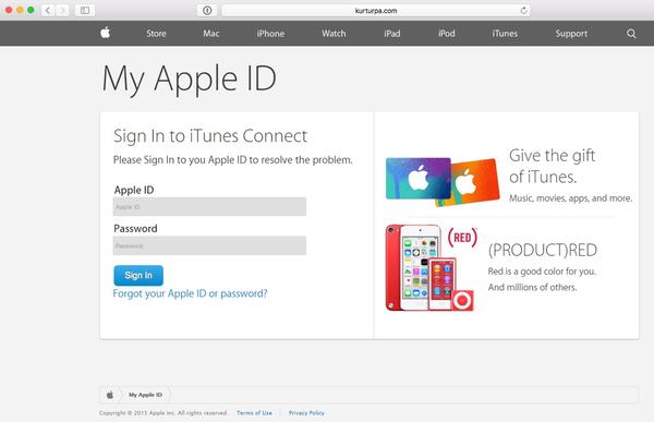 Fałszywa strona Apple ID